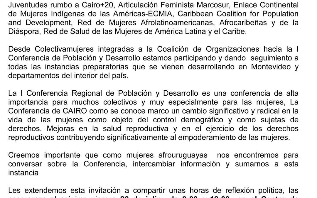 INVITACIÓN HACIA LA I CONFERENCIA DE POBLACIÓN Y DESARROLLO