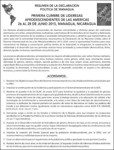 Resumen de la Declaracion de la Cumbre de Lideresas Afro.